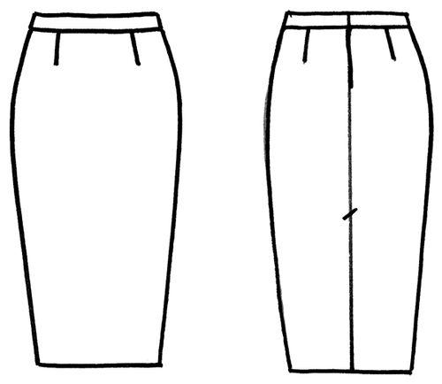 Чертеж юбки карандаш